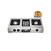 GC-8350P2- Tabletop - 2 Burner 1 Wok - Grill - Silver