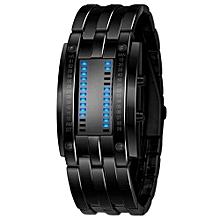 Casual Men's Black Stainless Steel Date Digital LED Bracelet Sport Watches Black