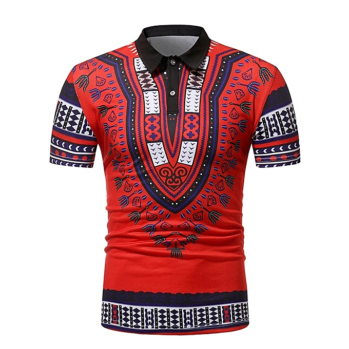 b2e716902c022 Generic New Stylish African Style Printed Men s Short-sleeved Polo ...