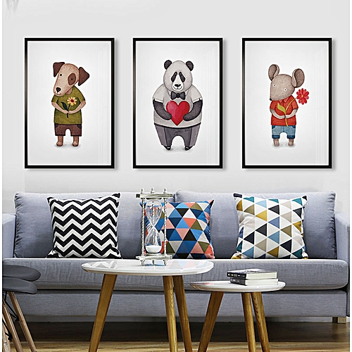 Qukau 3pcs 40 60cm Wall Painting Picture Mural Children S Room Decoration Painting Cartoon Animal Frescoes On Bedside Of Girls Bedroom