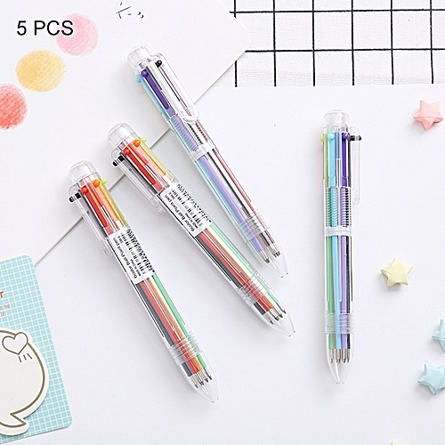 5 Pcs Creative Stationery Simple Cute Six Colors Ball Pen Push Action School Office Supplies
