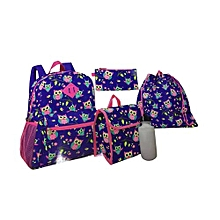 5 Piece Kids Back to School Bag Set Medium (14 Inch Backpack,Lunch Bag,Pencil Case,Drawstring Bag,Water Bottle) - Dark Blue & Pink