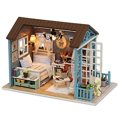 Generic Wooden Kids Doll House With Furniture Staircase Led Lights
