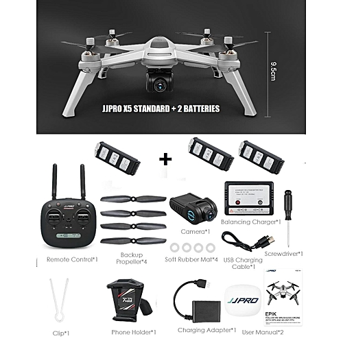 JJRC JJPRO X5 GPS 5G WiFi FPV RC 1080P HD With Brushless Motor( Ready  Stock) (Grey 3 Batteries) TXSHOP