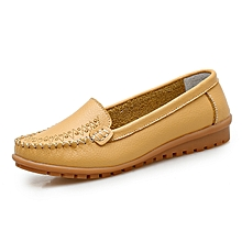 Women Loafers Genuine Leather Casual Shoes For Female Moccassins (Yellow)
