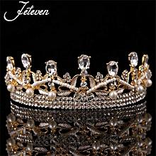 Korean Brides Tire Crown Baroque Married Diamond Hair Studio Wedding Dress Shape Accessories Gold
