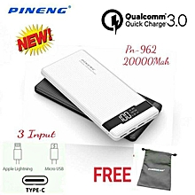 NEW PN-962 PN962 PN 962 POWER BANK 20000MAH QC3.0 QUICK CHARGE 3.0 Li-ion POLYMER BATTERY POWERBANK FREE POUCH BGmall