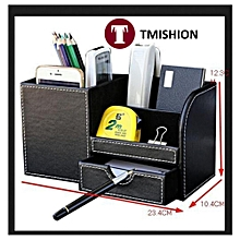 TMISHION Wooden Leather Multifunction Desk Stationery Organizer Storage Box Pen Pencil Holder Case