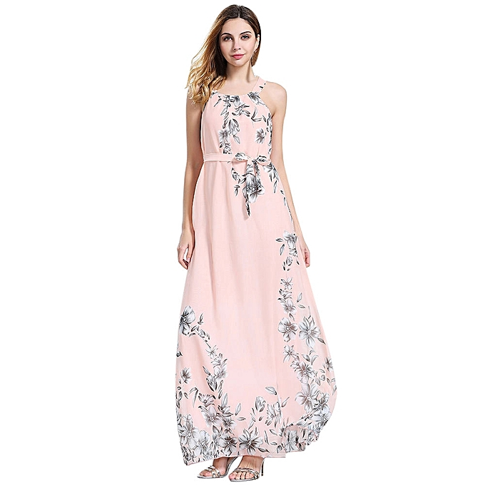 3d5906967c10 Lady Womens Sleeveless Boho Dress Ladies Floral Print Summer Long Maxi Dress