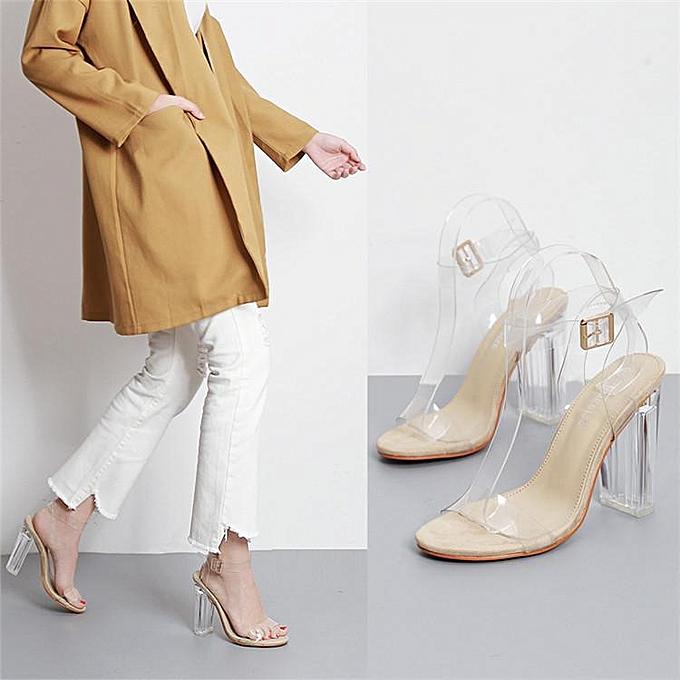 e2de52136db Women's Transparent Sandals Clear High Heels Ankle Strappy Open Toe Shoes  Clear Beige-EU