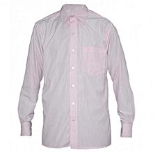 Light Pink Long Sleeved Striped Mens Shirts