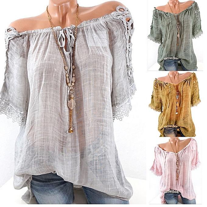 9080967e6a92a ... New women s sexy stitching word collar off-shoulder shirt chiffon shirt- green