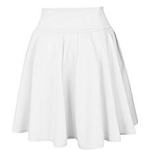 Womens Party Cocktail Mini Skirt Ladies Summer Skater Skirt- White