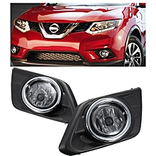 Chrome Clear Fog Light Lamp For Nissan Rogue SUV 14-16 w/Bulbs Switch Bezel Kit