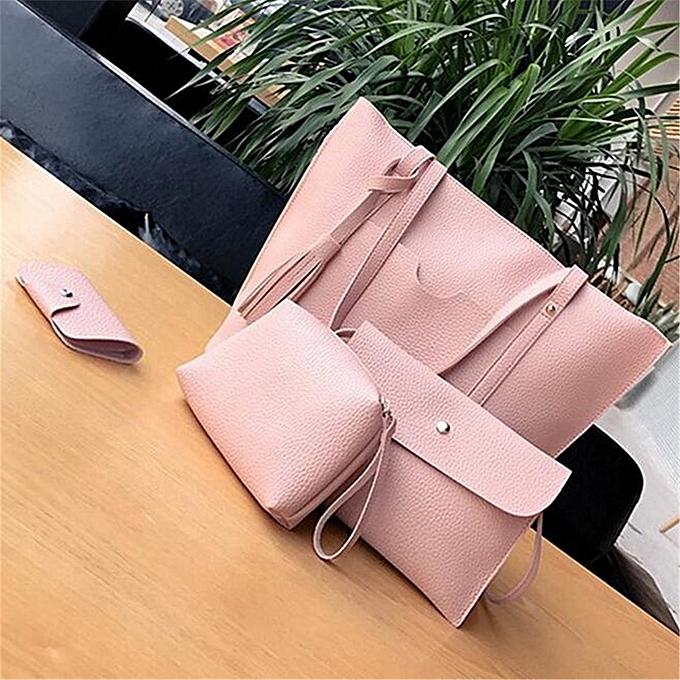 7a6f5771e1bd 4pcs set Women Leather Handbag Lady Shoulder Bags Tote Purse Messenger  Satchel