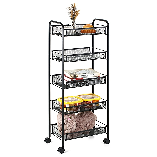 a5f480ed4e41 Multi-Purpose 5-Tier Mesh Wire Rolling Cart Storage Trolley Organizer for  Kitchen Pantry Bedroom Bathroom Living Room--Black