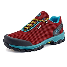 Summer New Style Men Outdoor Sprots Shoes Mesh Breathable Hiking Mountain Climing Shoes Anti-skid Men Trekking Shoes - Red