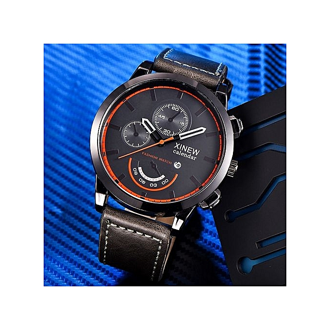 Watch Vintage Classic Mens Waterproof Date Leather Strap Sport Quartz Army Watch BW-Gray