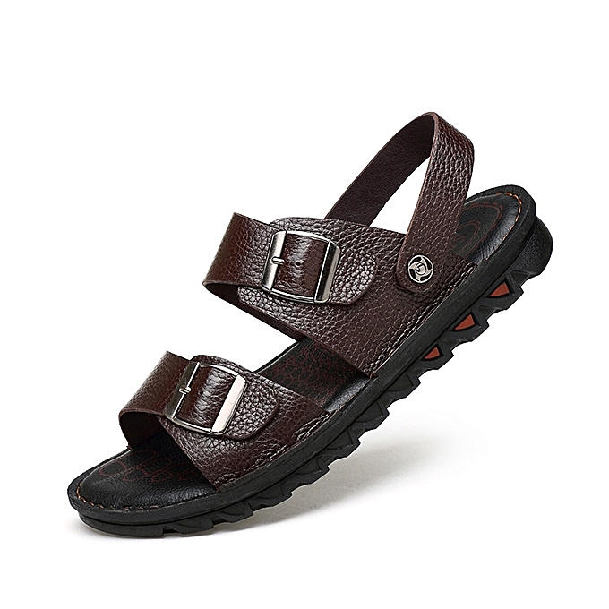 0c59f240cfdd6 Fashion Men Comfy Breathable Genuine Leather Beach Sandals Two Way ...