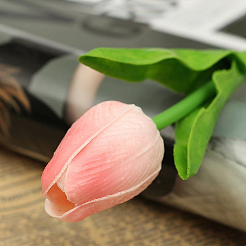 UNIVERSAL 10pcs Artificial Tulip Flower Latex Real Touch Bridal Wedding Bouquet Home Decor Pink