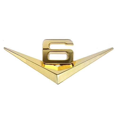 3d V6 Emblem Schriftzug Aufkleber Wandtatoo Sticker Auto Motorrad Deko Metall Gold