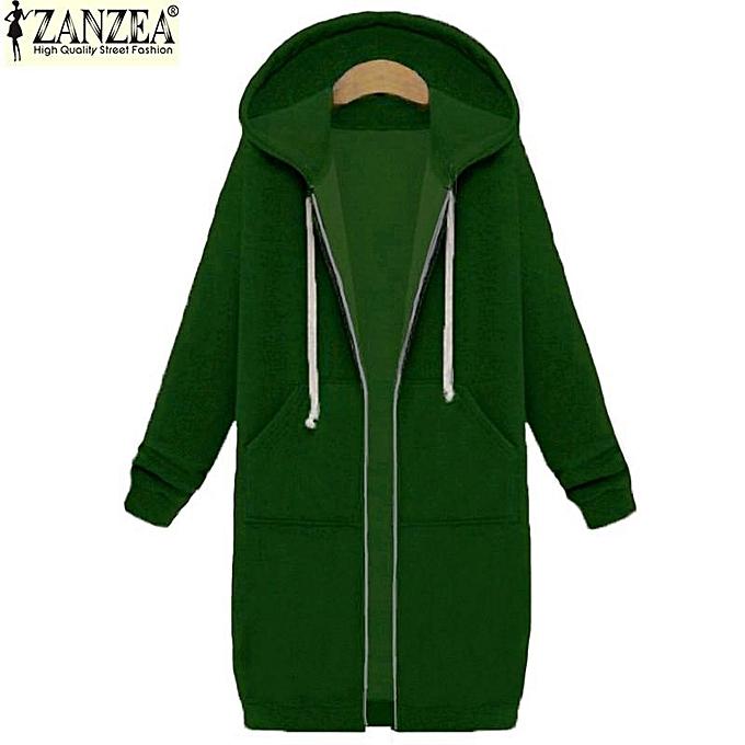 18fbc34170ac9 ZANZEA Winter Coats Jacket Women Long Hooded Sweatshirts Coat Casual Zipper  Outerwear Hoodies Plus Size (