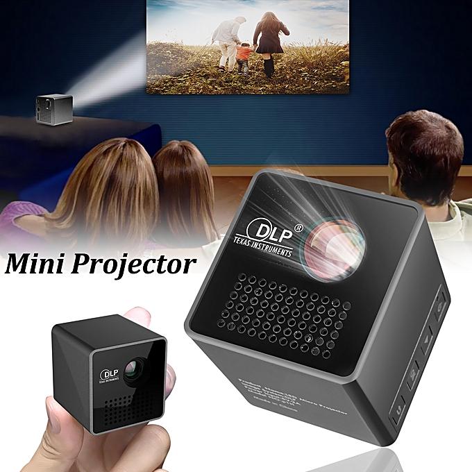 Mini Cube LED Portable Wireless Pocket WiFi DLP Multimedia Video Home  Projector-black