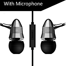 X6 Super Bass Earphones Professional Monitoring Headset - Silver (With microphone)
