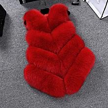 Women Faux Fur Fluffy Warm Vest - Red