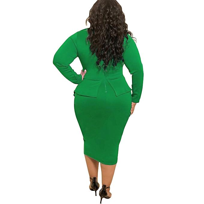 7baa5b57199 Fashion Autumn Plus Size Bowknot Long Sleeve Women Dress D1053 Green ...