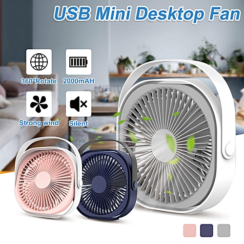 Blue/Pink/Silver gray 6 inch 360 degree rotation Mini Portable USB Battery  Power Supply 3 Speed Desktop Fans