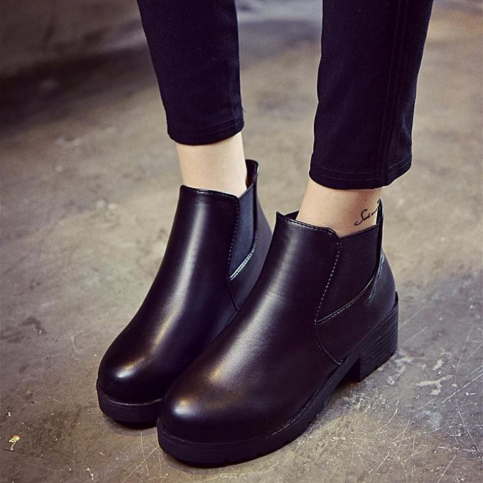6c19ac46e222 Fashion Hiamok Women Leather Low Flat Block Heel Chelsea Ankle Boots ...