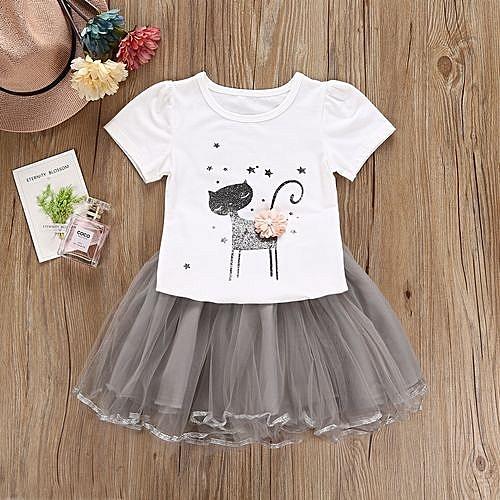deaca94634cd Generic Fashion Summer Girls Clothes Cute T-Shirt + Mesh Skirt Suits ...