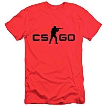 Men Counter Strike CS GO Short Sleeve T-shirts -Red&Black