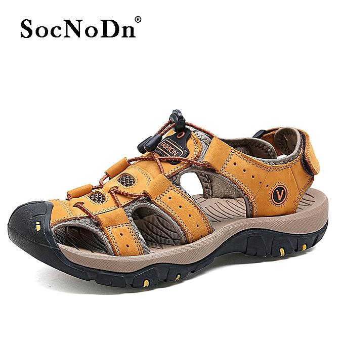 18bdb931d SocNoDn Men Casual Fashion Leather Beach Sandals Shoes Light Brown ...