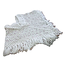 Poncho crochet work white with Pink touch