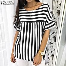 e367843c24081c ZANZEA Women Casual Short Sleeve Blouse Tee T Shirt Pullover Loose Retro  Striped Top