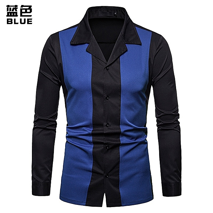 1108ca2899b Men Long Sleeve Shirt Men Casual Slim Fit Male Shirts Splice Turn-Down  Collar High