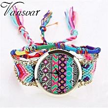 Vansvar Women Fashion Handmade Braided Rope Ladies Quartz Watch Women's Watch -Colorful