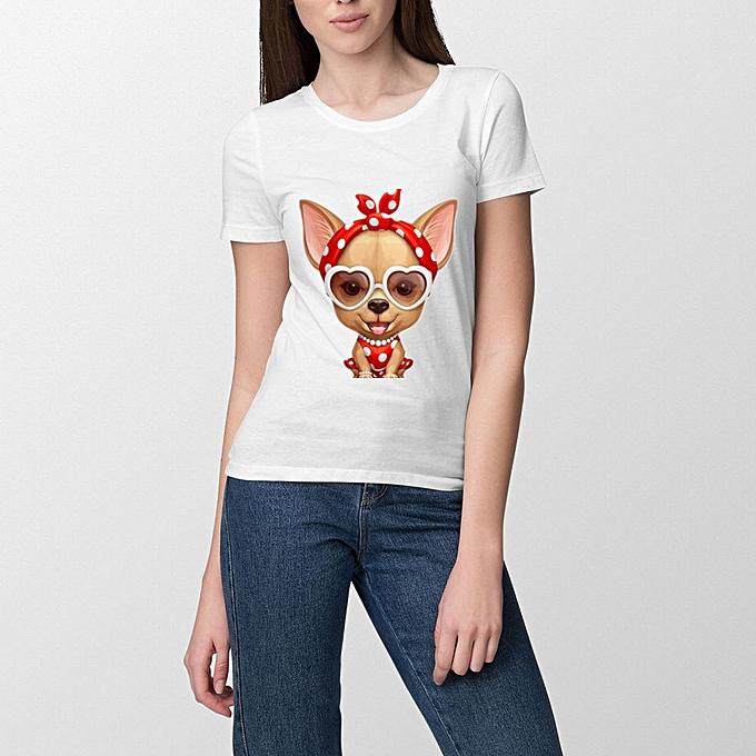 f57eeced OEM Women Casual T-Shirt Short Sleeves Shirt Chihuahua Retro funny ...