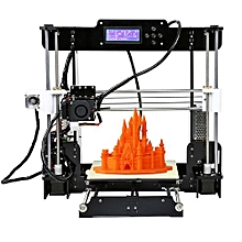 A8 High Precision Desktop 3D Printer Kits Reprap I3 DIY Self Assembly MK8 Extruder Nozzle Acrylic Frame LCD Screen With 8GB SD Card Printing Size 220*220*240mm Support ABS/PLA/HIPS/PP/Wood Filament