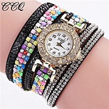 CCQ Women Fashion Casual Analog Quartz Women Rhinestone Watch Bracelet Watch