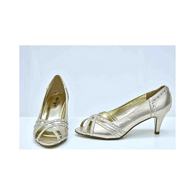f0d78f52c93 Pose Light Gold Peep Toe Heels   Best Price