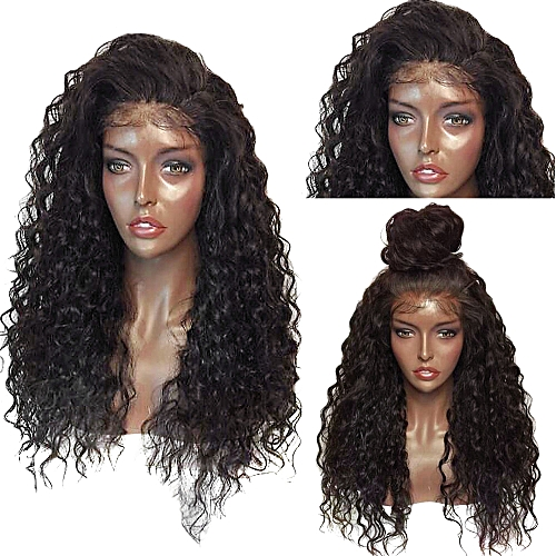 Generic Fluffy Curly Long Lace Frontal Synthetic Wig - black and brown 68a112080b19