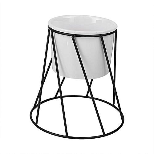 Buy Generic Ceramic Flower Pot And Round Geometric Metal Rack Garden