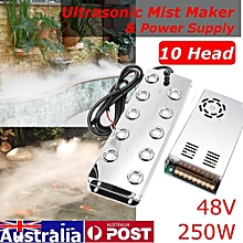 10 Head Ultrasonic Mist Maker Industry Fogger Humidifier 250W + Power Supply