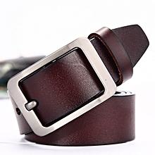 Belt men's pin buckle leather belt Joker two-layer leather belt gold world casual belt men's-120CM-brown