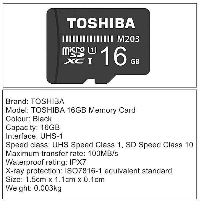 16GB Memory Card TOSHIBA Mobile Phone Memory Card High Speed Recording  Memory Card