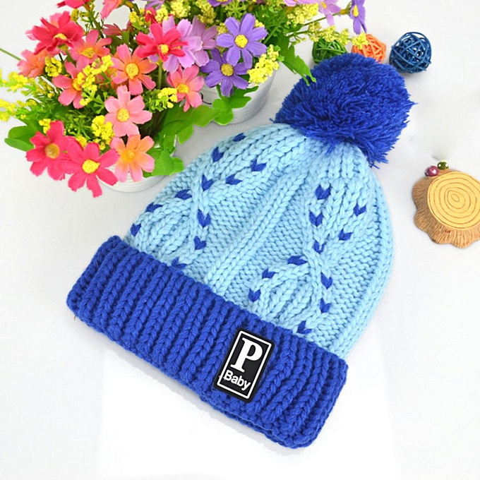 84423a6f5e9 Winter Warm Child Toddler Hairball Cap Boy Girl Knit Beanie Hat Crochet BU- Blue