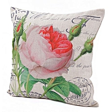 Unisex Blooming Roses Square Linen Pillow - White